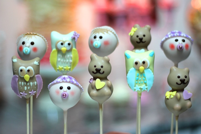 Cake Pop Baby Taufe Shower Birthday Eule Bär